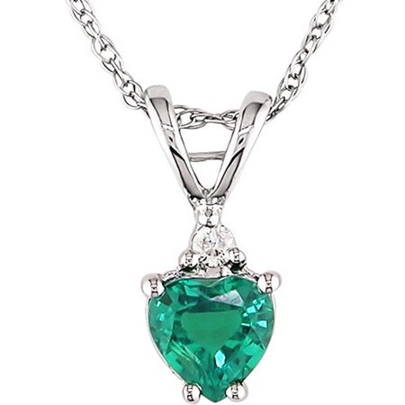 1/3 Carat T.G.W. Created Emerald Heart and Diamond Accent 10kt White Gold Pendant, 17