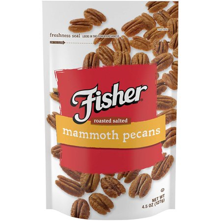 Fisher Snack Roasted Salted Pecans, Stand-Up Bag, 4.5 oz ()