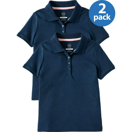 Womens Short Sleeve Uniform (Wonder Nation Girls School Uniform Short Sleeve Interlock Polo, 2-Pack Value Bundle )