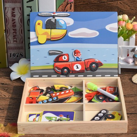 Children Magnetic Puzzle Set Educational Games Wooden Drawing Board Dress Up Facial Features Kids Educational Toys   Pattern 1