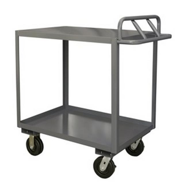 Durham RSC-3060-2-3K-TLD-95 14 Gauge Tubular Push Handled Rolling Service Cart with 2 Shelves & Top Lips Down, Gray - 60 x 30 x 39 in.