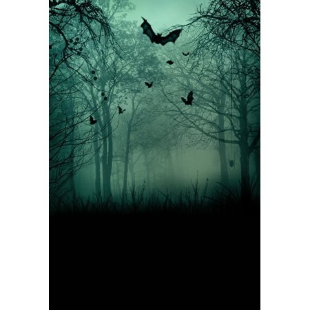 HelloDecor Polyster 5x7ft Abstract Halloween Spooky Forest with Scary Bats Backgrounds Photography Backdrops Indoor Studio Photo Props