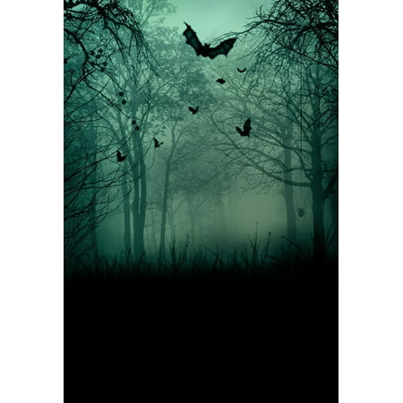 HelloDecor Polyster 5x7ft Abstract Halloween Spooky Forest with Scary Bats Backgrounds Photography Backdrops Indoor Studio Photo Props - Halloween Streamer Backdrop