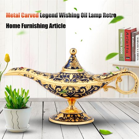 Ejoyous Metal Carved Legend Wishing Oil Lamp Tea Pot Retro Furnishing Article Decoration(sapphire blue), Metal Carved oil lamp,  Home carft Decoration - image 2 de 8
