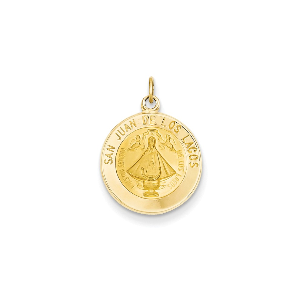 14k Yellow Gold Engravable Our Lady of San Juan Medal Charm (0.8in long x 0.6in wide)