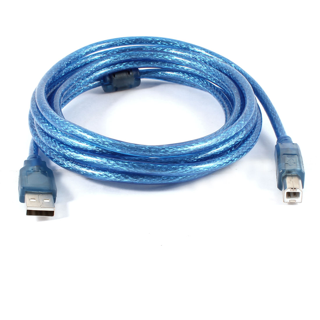 High Speed USB 2.0 A Male to B Male M/M Printer Extension Cable Clear Blue 10ft
