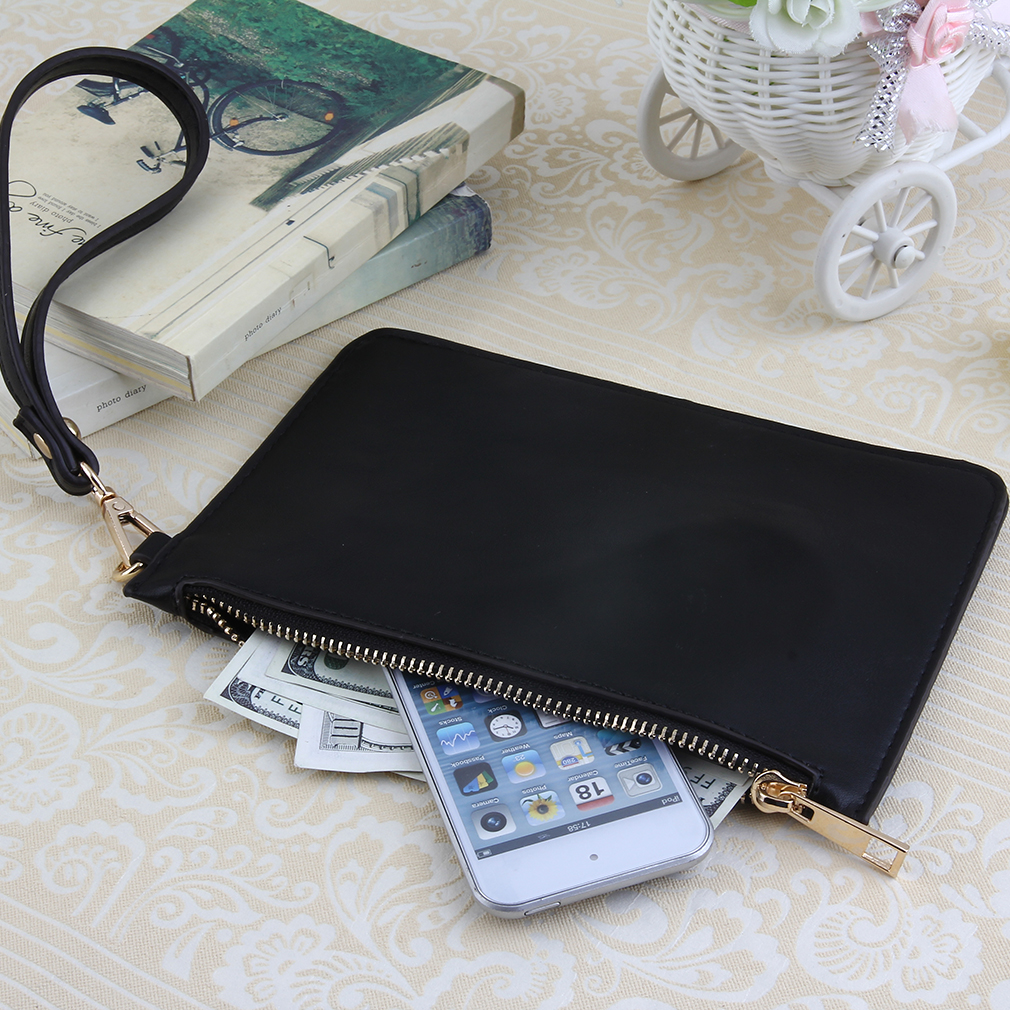 Retro Women PU Leather Messenger Wristlet Clutch Pouch Bag Purse Zip Wallet Clutch