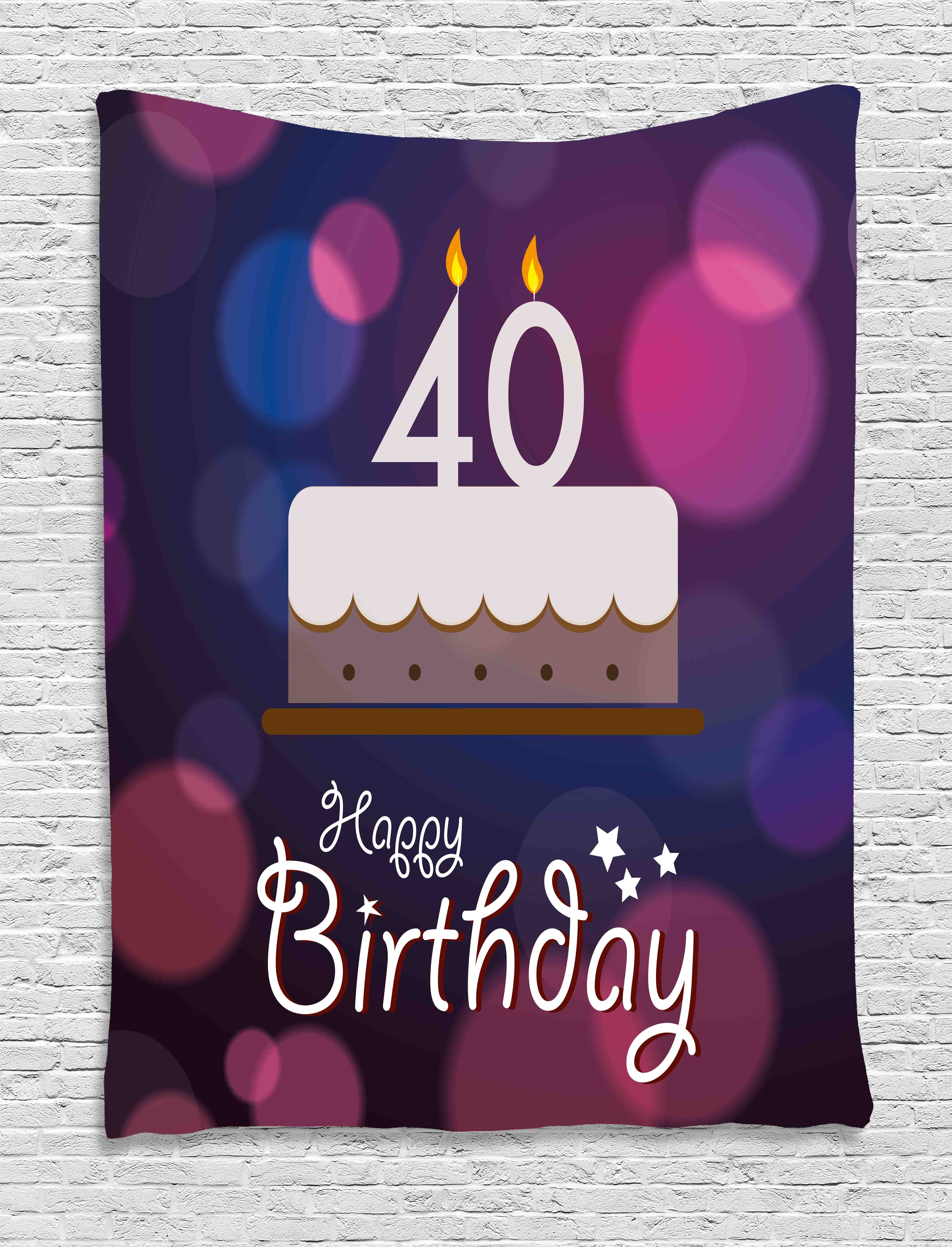 40th Birthday Decorations Tapestry Big Color Dots And Graphic Cake Candles Hand Writing Stars Wall Hanging For Bedroom Living Room Dorm Decor