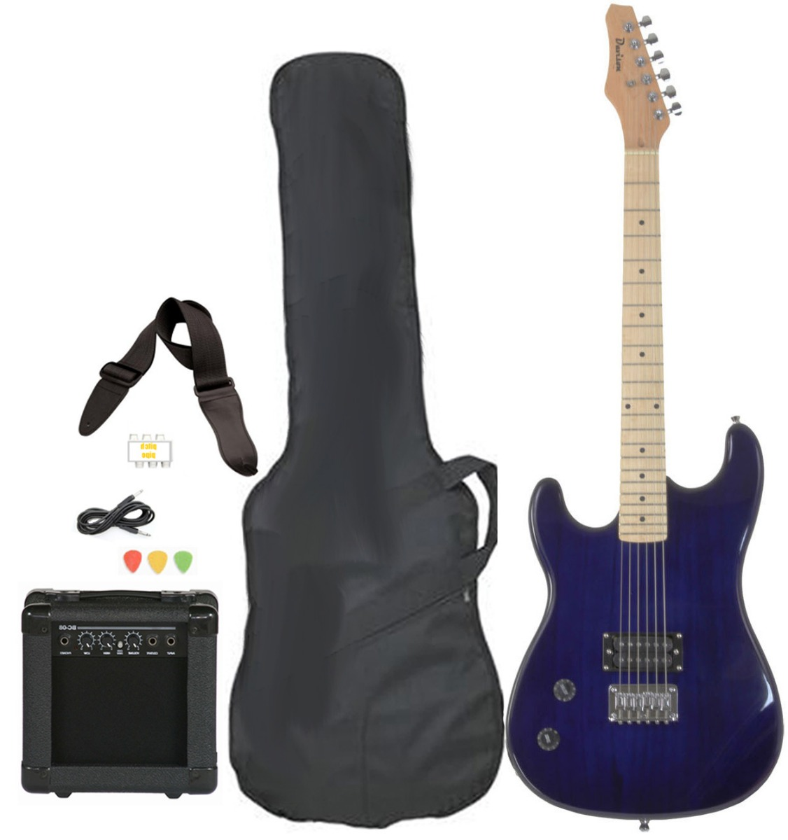Davison Guitars Electric Guitar Blue Left Handed Full Size With Amp Case Cord Strap And Picks