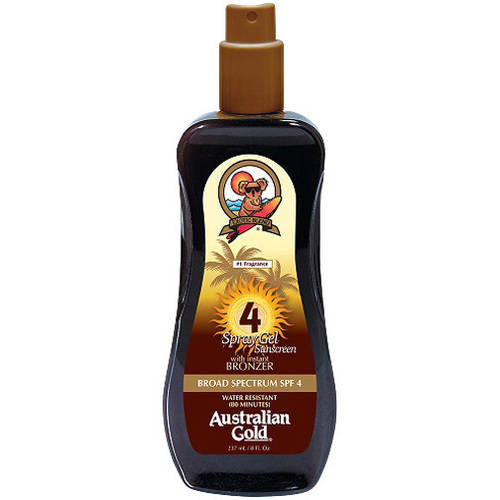Australian Gold SPF 4 Spray Gel Sunscreen with Instant Bronzer, 8 fl oz
