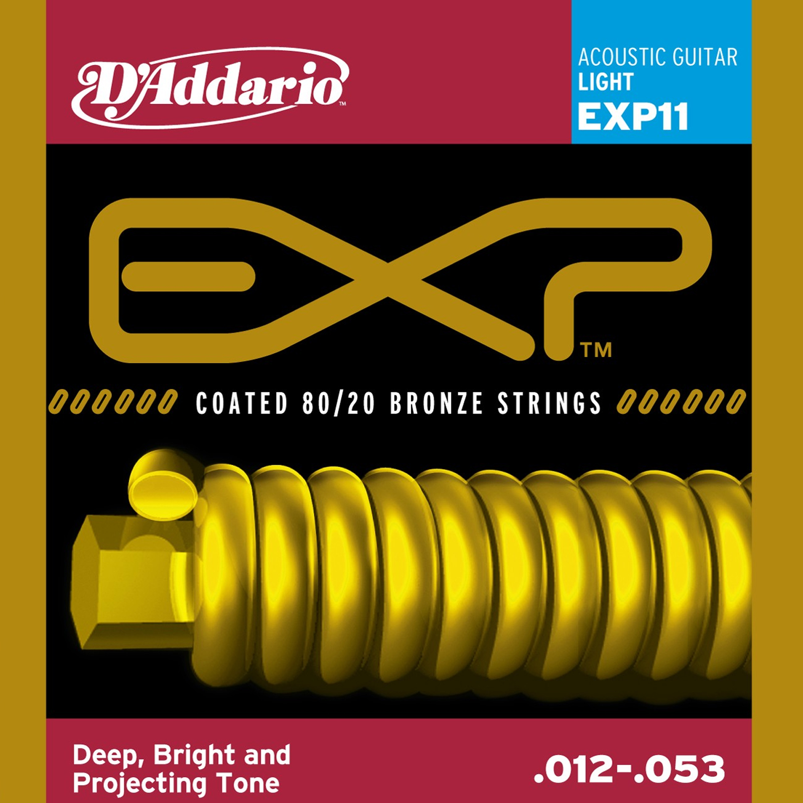D'Addario EXP11 Coated Acoustic Guitar Strings, 80 20, Light, 12-53 by D'Addario