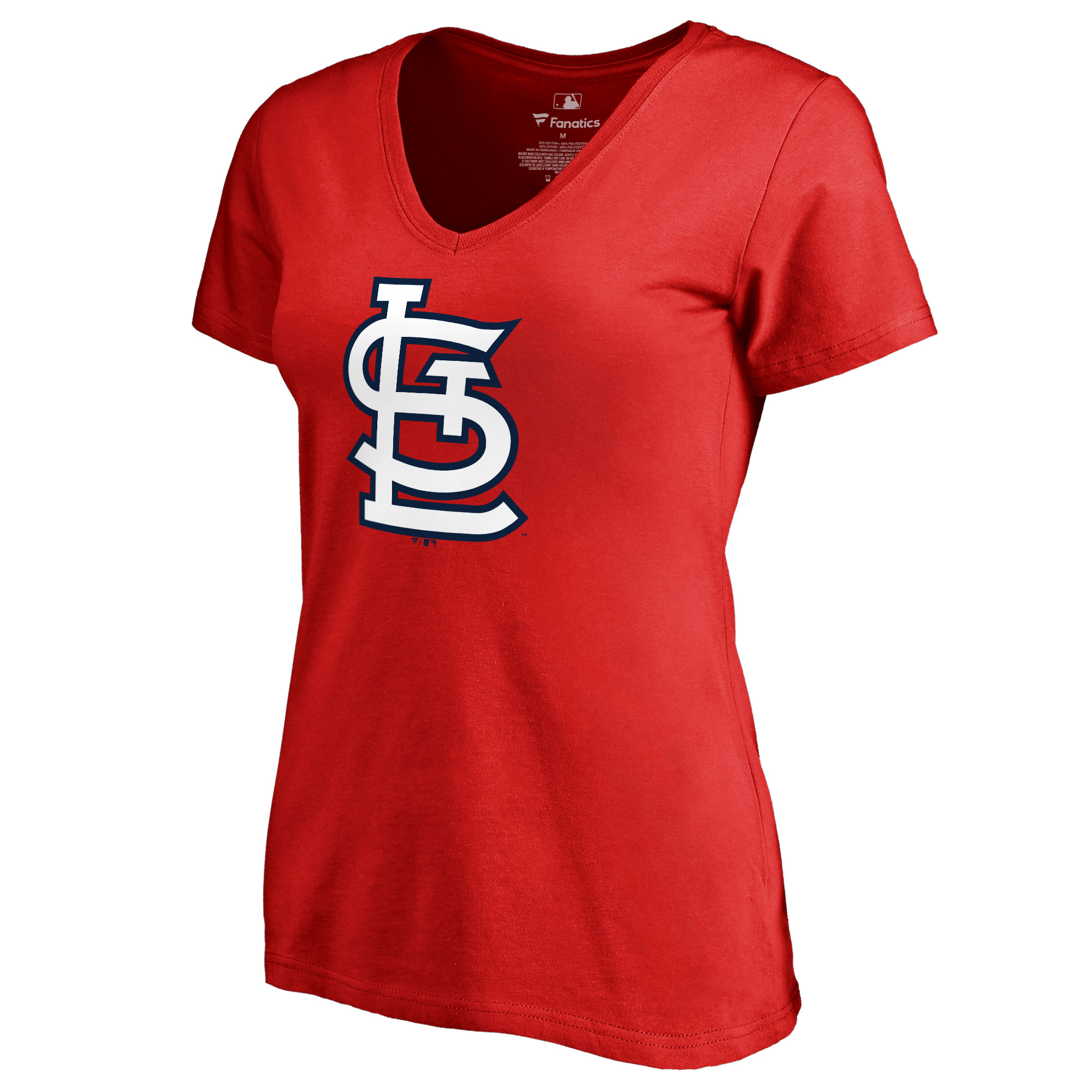 St. Louis Cardinals Women's Team Color Primary Logo V-Neck T-Shirt - Red