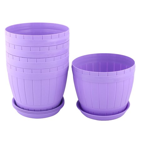 Aloe Seed - Parterre Plastic Round Aloes Plant Flower Seed Pot Holder Container Purple 5pcs
