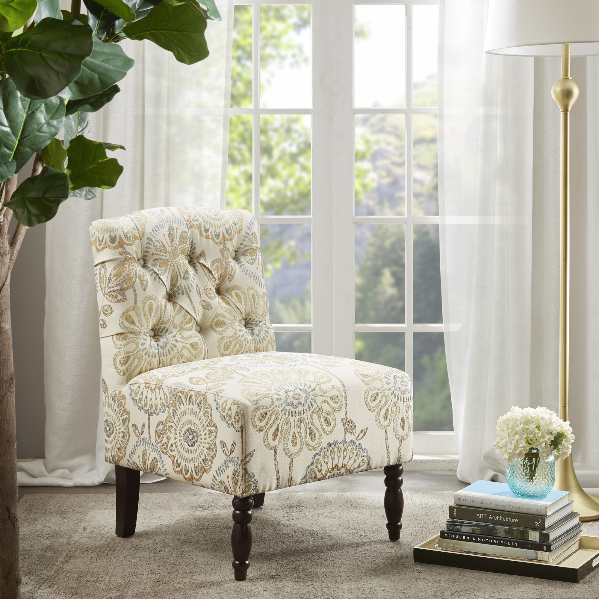 Home Essence Alyssa Tufted Upholstered Armless Accent Chair