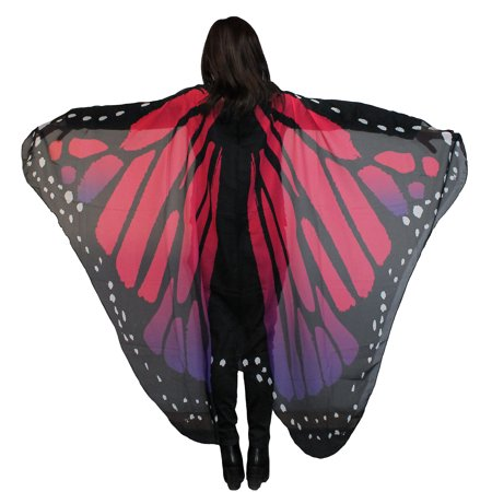 Customs For Women (Purple and Red Monarch Butterfly Wings Halloween Costume Accessory for Women, One Size, by Country)
