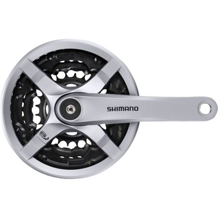 - Shimano Tourney FC-TY501 Crankset - 170mm, 6/7/8-Speed, 42/34/24t, Riveted, Square Taper JIS Spindle Interface, Silver