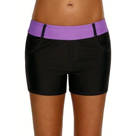 S-3XL Women Ladies Bikini Bottoms Bath Pants Swimming Trunks Beach Shorts Swim Briefs Tankini Beachwear Swimwear Green Purple -