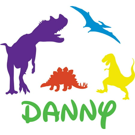 Personalized Name Vinyl Decal Sticker Custom Initial Wall Art Personalization Decor Baby Boy Nursery Room Newborn Colorful Dinosaurs 12 Inches x 12 - Boys Room Decor