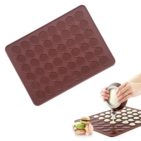 Large Double Sided Macarons Silicone Mat Baking Mold , Muffin Chocolate Chip Cookies Oven Baking Mat Sheet - 48 Capacity - Large Baking Mat