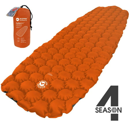 EcoTek Outdoors Insulated Hybern8 4 Season Ultralight Inflatable Sleeping Pad for Hiking Backpacking and Camping - Contoured FlexCell Design - Perfect for Sleeping Bags and Hammocks (Fire