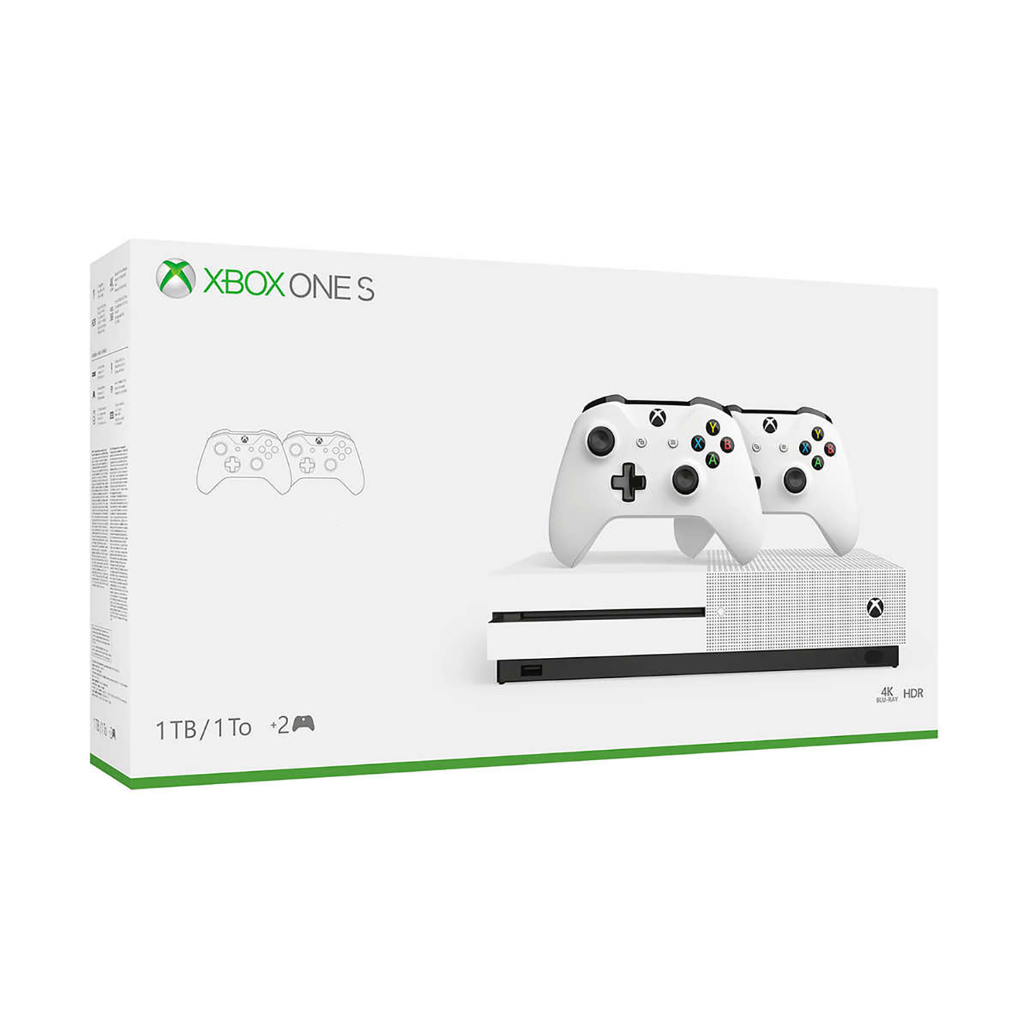 Microsoft Xbox One S 1TB Console with 2 Controllers Open Box Factory Refurbished by Microsoft