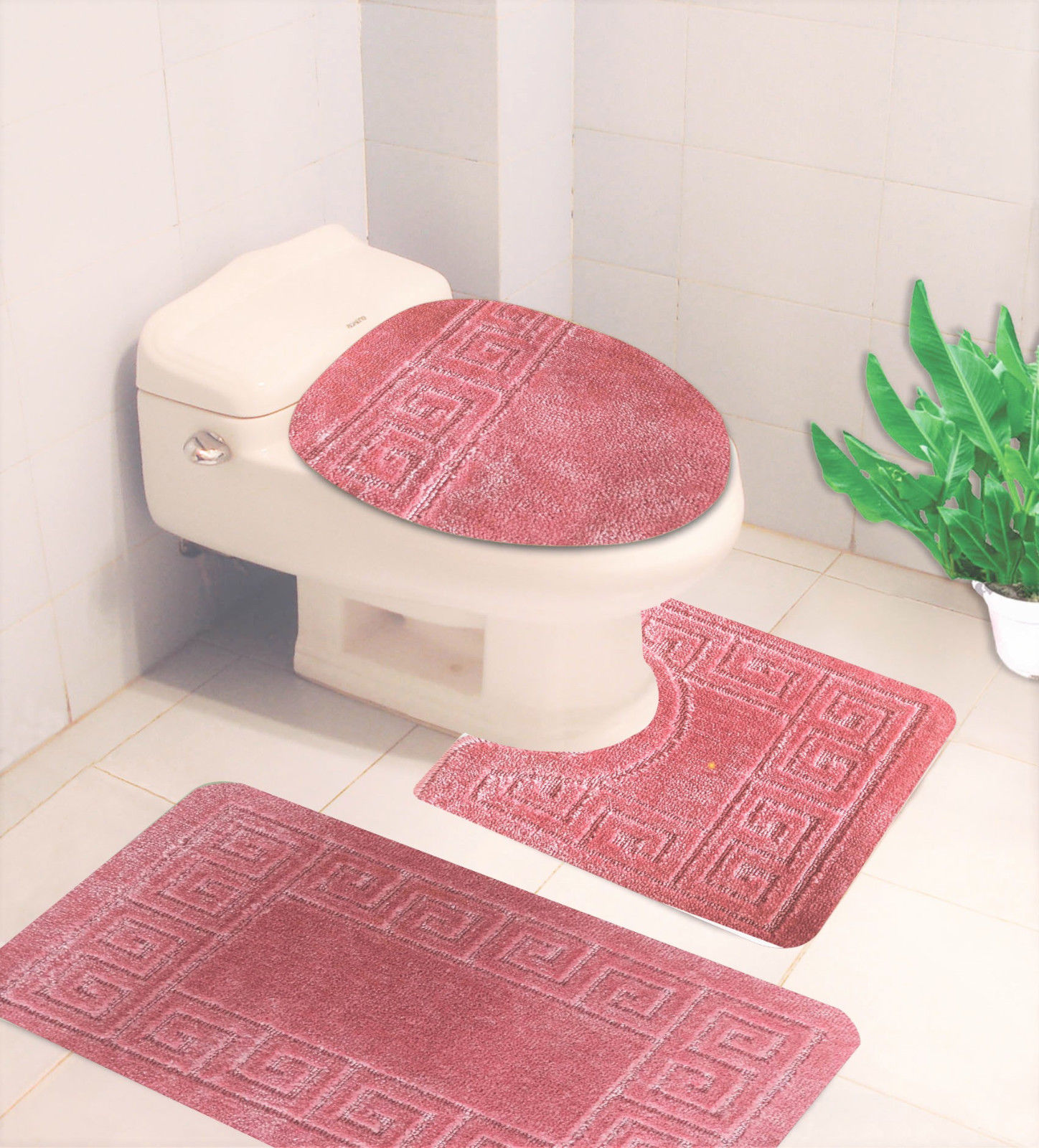 """Bathroom Mats Set 3 Piece - EMBOSSED Extra Soft Shower Bath Rugs Mat 30""""x19""""/Contour Mat 19""""x19""""/ Toilet Lid Cover 19""""x19"""" , Washable Non Slip Mat Set for Kitchen, Shower, and Toilet, I3766"""