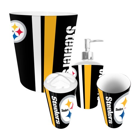 Pittsburgh steelers nfl complete bathroom accessories 4pc for Entire bathroom sets