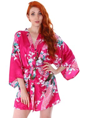 eef4d8863 Product Image Silk Robe Women s Short Satin Sleepwear Kimono Robe  Bridesmaid Bathrobe (Rose2). BASILICA