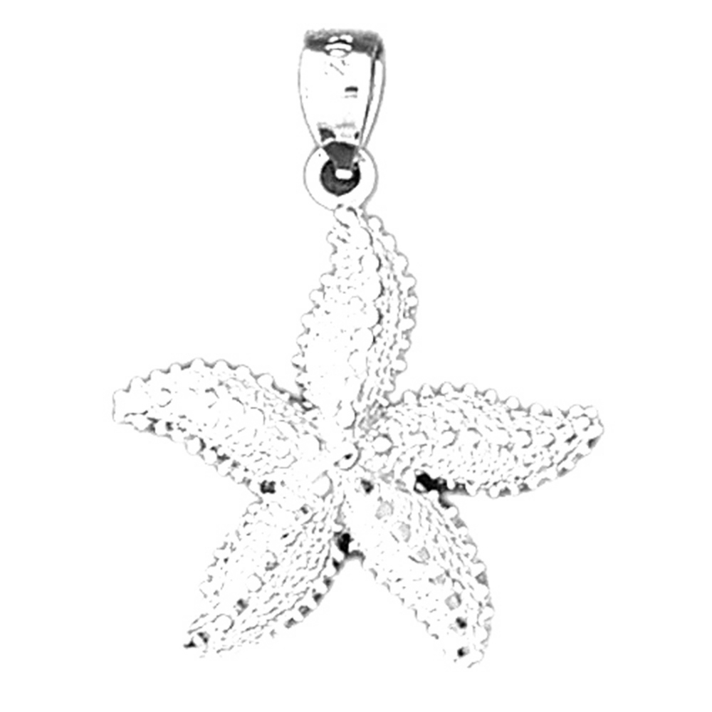Sterling Silver Starfish Pendant - 31 mm (Approx. 1.955 grams)