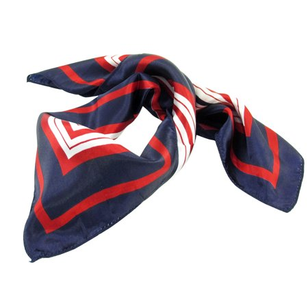 Dark Blue Red White Stripes Print Square Kerchief Neck Scarf Wrap for Lady - image 1 of 1