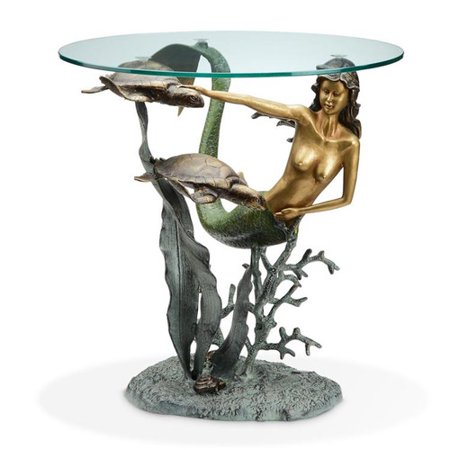SPI Home Mermaid and Sea Turtles End Table
