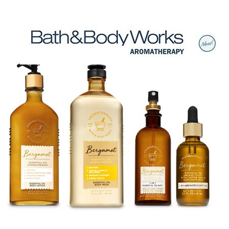 Bath and Body Works Aromatherapy Deluxe Gift Set NEW BERGAMOT Essential Oil - Body Lotion - Oil Mist - Massage Oil and Body Wash Full Siz