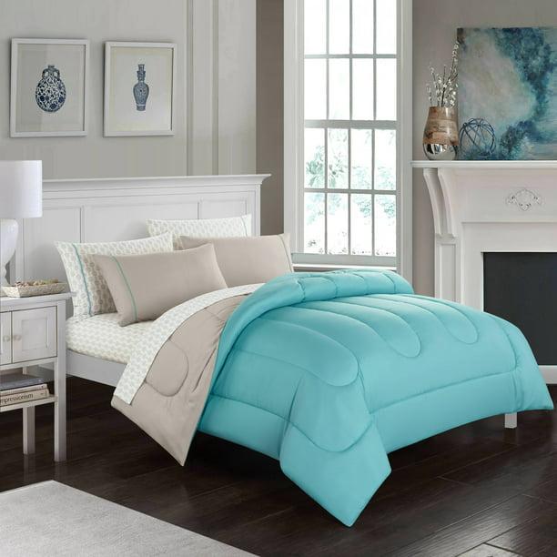 CASA 7-Piece Solid Reversible Comforter Set With BONUS Sheets, Full, Aqua