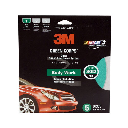 "3M 8"" 80 GRIT Stikit PSA Green Corps Sandpaper Sanding Disc 5 in a box 31549"