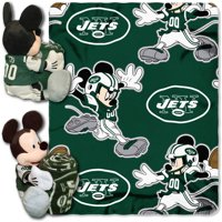 "Official NFL and Disney Cobrand New York Jets Mickey Mouse Hugger Character Shaped Pillow and 40""x 50"" Fleece Throw Set"