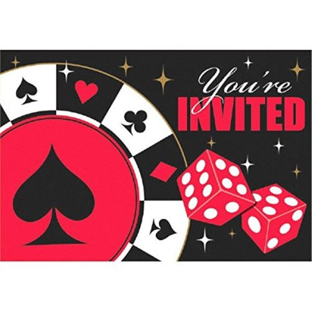 Casino Night Party Invitations (Casino Party Postcard Invitations, 8 Ct. )