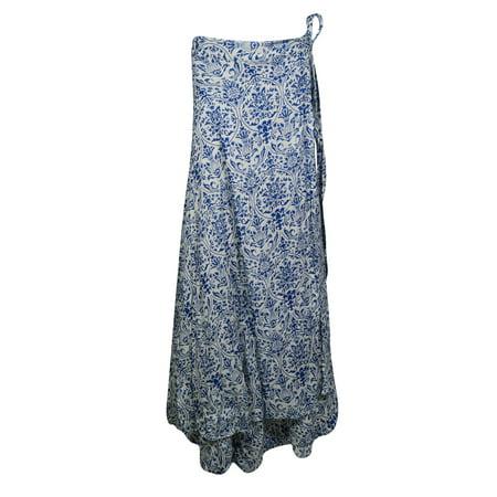 Mogul Womens Wrap Around Skirt Rayon Printed Summer Style Beach Wear Long Skirts Bikini Cover up S/M/L