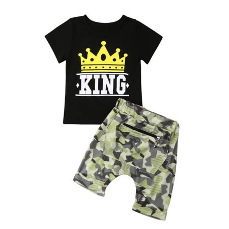 Styles I Love Toddler Boy Chic and Fun Graphic Tee Shirt with Camouflage Pants 2pcs Set Summer Casual Outfit (Crown KING, 90/1-2 Years)](King Outfits For Adults)