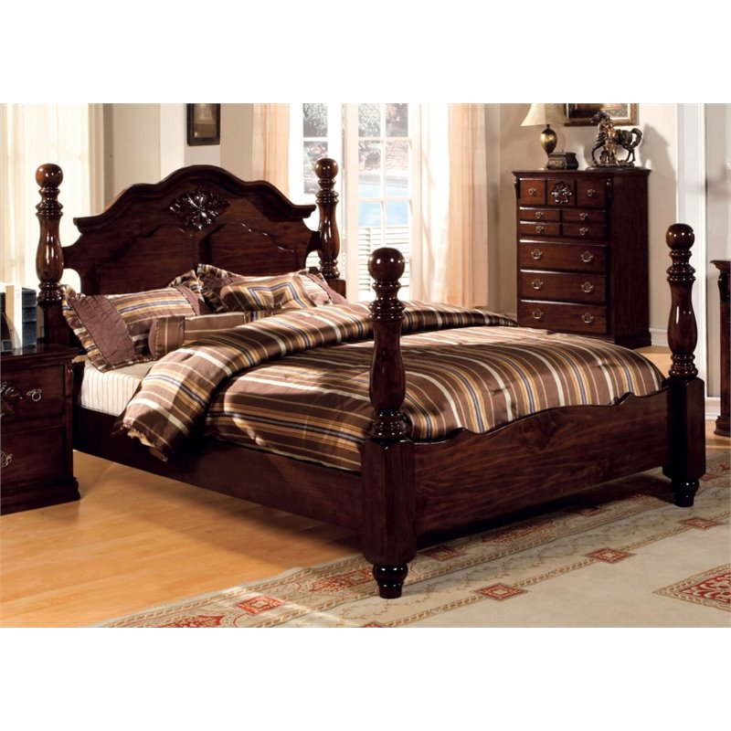 Furniture of America Cathie California King Poster Bed in Dark Pine by Furniture of America