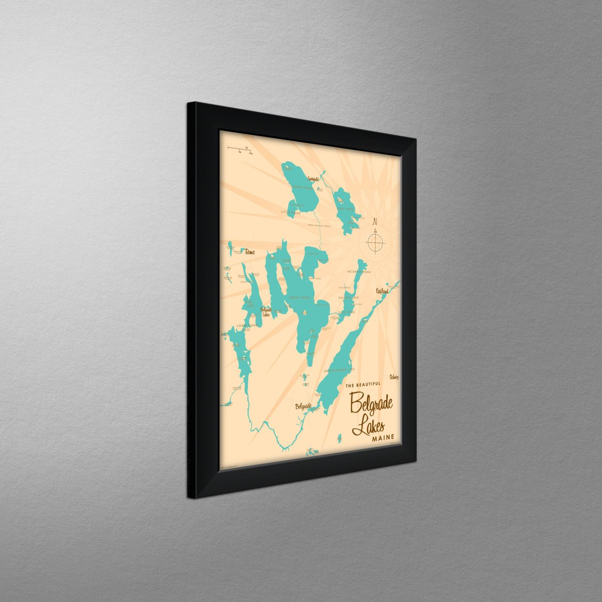 Belgrade Lakes Maine Map Framed Art Print By Lakebound Print Size