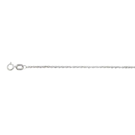 10K White Gold 1 mm Sparkle Singapore Chain