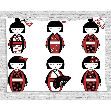 Girly Decor Tapestry, Asian Geisha Dolls in Folkloric Costume Outfits and Hair Sticks Kimono Art Image, Wall Hanging for Bedroom Living Room Dorm Decor, 60W X 40L Inches, Black Red, by Ambesonne (Geisha Outfits)
