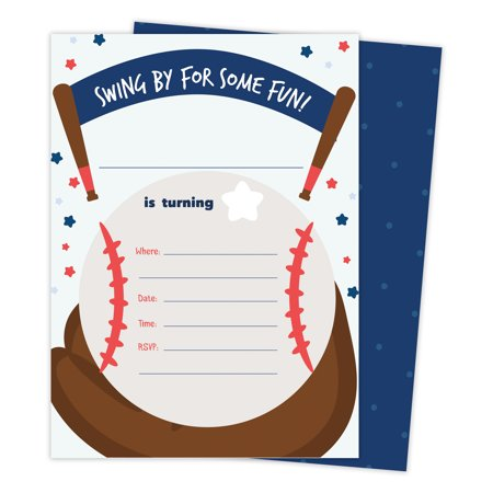 Baseball 1 Happy Birthday Invitations Invite Cards (25 Count) With Envelopes & Seal Stickers Vinyl Boys Kids Party - Baseball Invitations