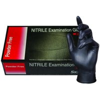 BLK50015-L-BX Nitrile Medical Grade Examination Gloves, 5 mil - 5.5 mil, Powder-Free, Textured, Chemotherapy Tested, Latex-Free, Non Sterile, Large, Black (Pack of 100)…