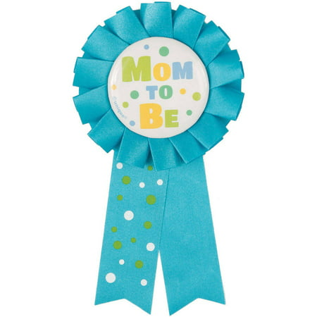 Mom To Be Baby Shower Award Ribbon, 5.5 in, Blue, 1ct (Baby Shower Ribbons)