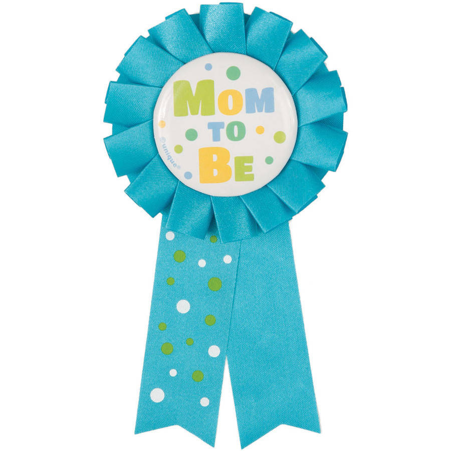 Mom To Be Baby Shower Award Ribbon, 5.5 in, Blue, 1ct