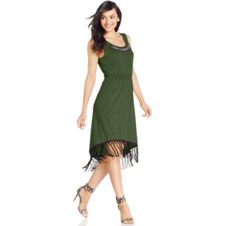 - NY Collection Women's High-low Fringed Hem Cypre Dress Size M
