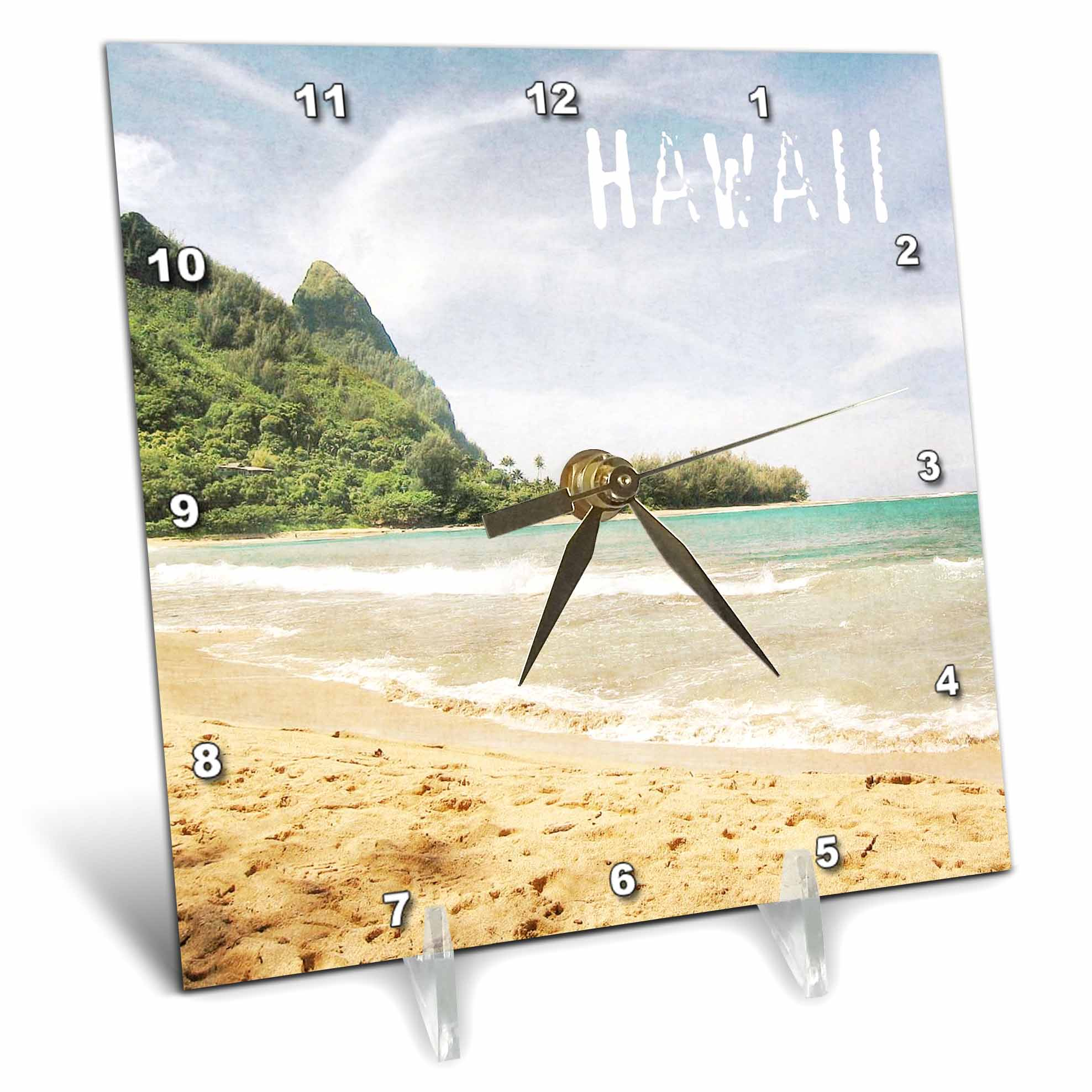 3dRose Kauai Hawaii Tropical Beach, Desk Clock, 6 by 6-inch by 3dRose