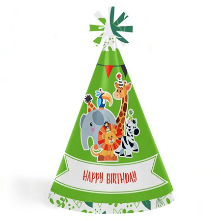 Jungle Party Animals - Cone Safari Zoo Animal Happy Birthday Party Hats for Kids and Adults - Set of 8 (Standard Size)