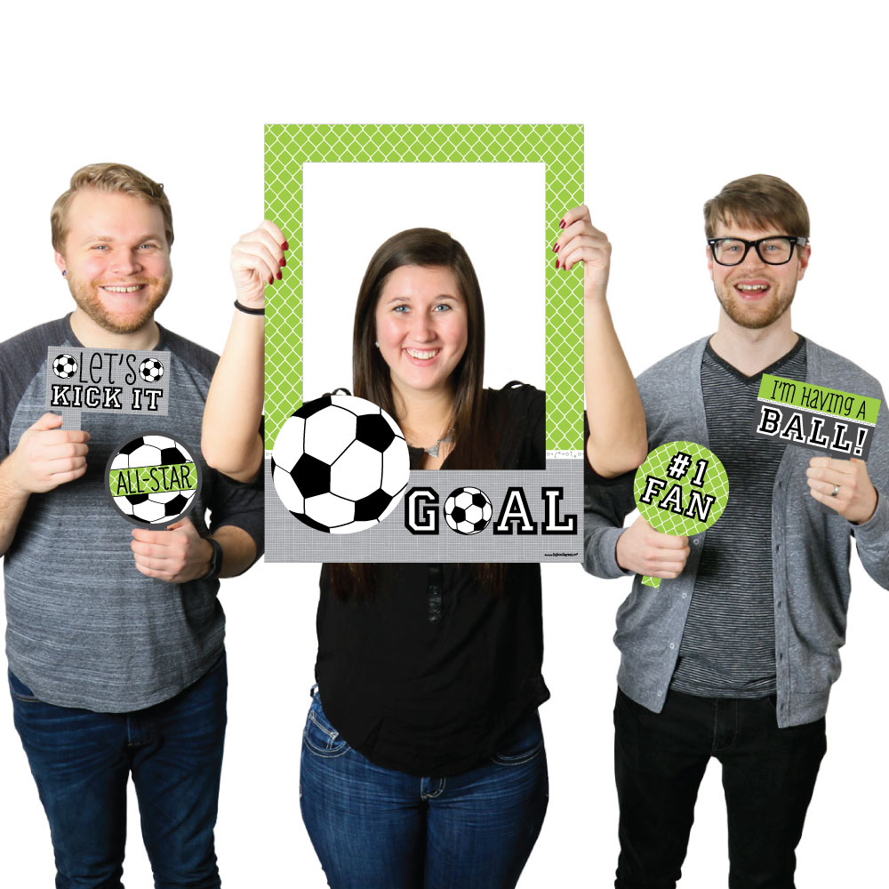 GOAAAL! - Soccer - Birthday Party or Baby Shower Selfie Photo Booth Picture Frame & Props -Printed on Sturdy Material